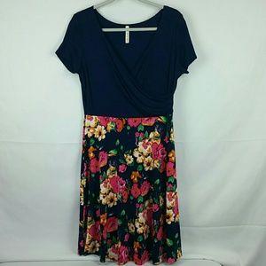 Gilli blue dress w/ colorful floral skirt pattern